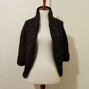 Aphorism Brown old thread accents open cardigan